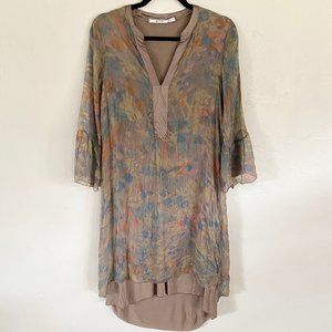 Nicole Italy Silk Brown Sheer Popover Dress